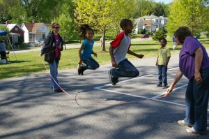 Jumping rope at our first ever Downtown Jubilee in 2012