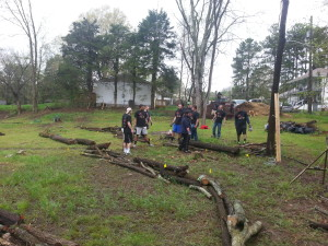 Averett Students working at the Urban Farm