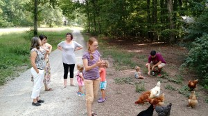 Gathering at the chicken coop at White Flint Farm