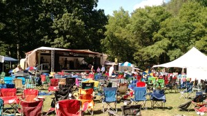 The main stage at the Wild Goose Festival as people begin setting out their chairs for that night's concert