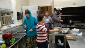 Some of the Christmas dinner crew cooking (and tasting!)
