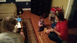 Playing at the Moffett house shortly before Christmas