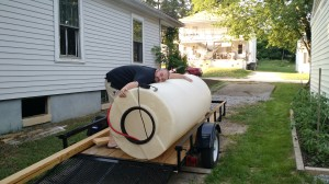 We're big fans of the 300 gallon water storage container we were given!