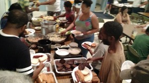 Some of the cookout spread at July's big meal