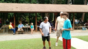 Learning a game at our 3rd Annual Lake Day with Clarksville Baptist Church