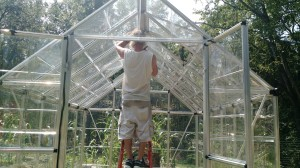 102 degrees outside, who knows how hot it was in the Greenhouse as we got it braced and finished