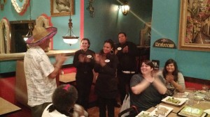 He couldn't help but clap along with the restaurant staff as they joined the birthday celebration