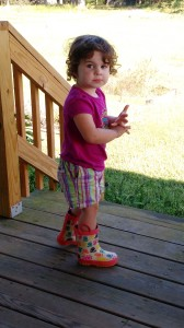 The youngest attendee of this year's Fall Leadership Retreat has her boots on and is ready to go visit the chickens and goats at White Flint Farm